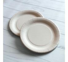 Одноразовая бумажная тарелка ECO PLATE, 180мм, белая/крафт