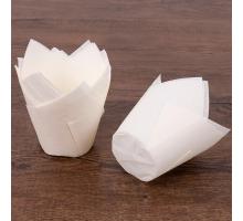 Бумажная форма для маффинов и кексов Тюльпан, 50х80мм, белая, 200 штук\уп