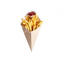 Упаковка для картофеля фри конусная с отделением под соус ECO CONE L, 80х200мм