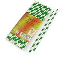 Трубочки бумажные, с зеленой полосой, 6х197 мм, 25шт/уп, для коктейлей и напитков