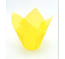 Бумажная форма для маффинов Тюльпан, 50х80мм, желтая, 200 штук\уп