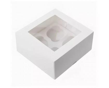 Упаковка под маффины CUP, для 4 маффинов, 160х160х100мм, с окном
