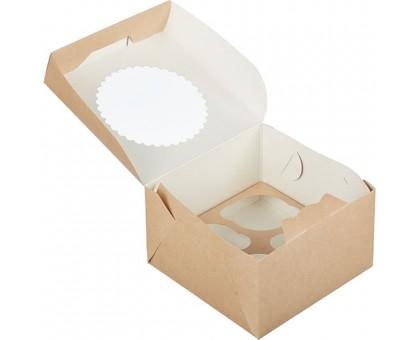 Упаковка под маффины ECO MUF, 4шт, с окном, 160х160х100мм, Doeco
