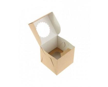 Упаковка под маффины и кексы ECO MUF, на 1шт, с окном, 100х100х100мм, Doeco