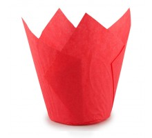 Форма для выпечки кексов Тюльпан, 50*80мм, бумажная, красная, 200 штук\уп