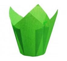 Бумажная форма для маффинов Тюльпан, 50х70мм, зеленая, 200 штук\уп
