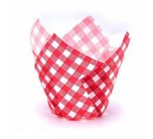 Бумажная форма для маффинов Тюльпан, 50х80мм, Красная клетка, 200 штук\уп