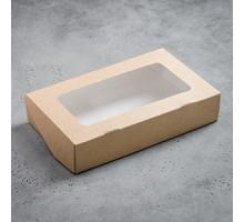Ланчбокс картонный, с прозрачным окном, 1000 мл, 200х120х41 мм, самосборный, Оригамо