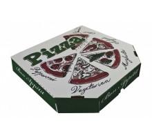 Коробка под пиццу 33х33см, белая, с рисунком