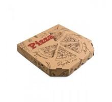 Коробка под пиццу, 25х25см, бурая, с рисунком