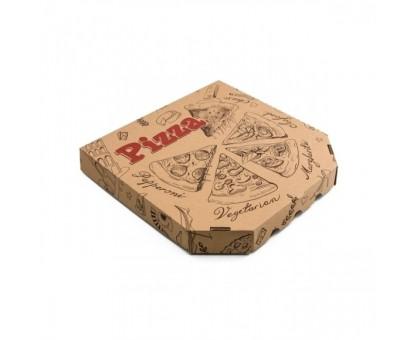 Коробка под пиццу 35х35см, бурая, с рисунком