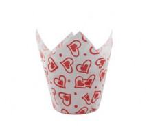 Бумажная форма для маффинов Тюльпан, 50х90мм, Красное сердце, 200 штук\уп