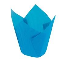 Бумажная форма для маффинов Тюльпан, 50х70мм, голубая, 200 штук\уп
