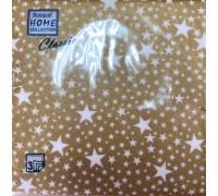 Салфетка 33х33 3сл Золотые звезды Букет Home Collection*12 Новый Год