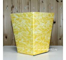 Коробка для цветов картонная, большая, Желтая Flower, 18х12см, высота 22см