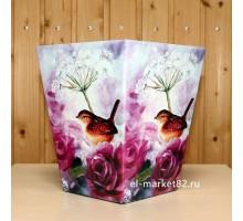 Коробка для цветов картонная, большая, Птица на розах, 18х12см, высота 22см