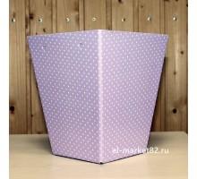 Коробка для цветов картонная, большая, Розовый горох, 18х12см, высота 22см