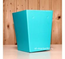 Коробка для цветов картонная, мини, Бирюзовая, 12х9см, высота 15см