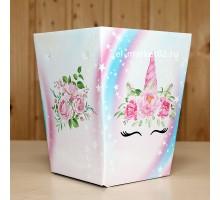 Коробка для цветов картонная, мини, Единорог, 12х9см, высота 15см