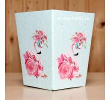 Коробка для цветов картонная, мини, Фламинго, 12х9см, высота 15см