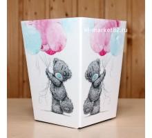 Коробка для цветов картонная, мини, Мишка с шариками, 12х9см, высота 15см