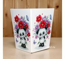 Коробка для цветов картонная, мини, Милая панда, 12х9см, высота 15см