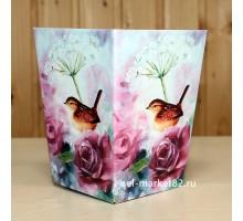 Коробка для цветов картонная, мини, Птица на розах, 12х9см, высота 15см