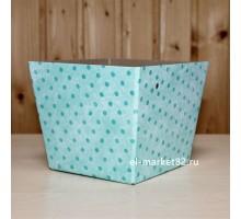 Коробка для цветов картонная, низкая, Мятный горох, 15х12см, высота 13см