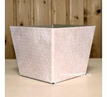 Коробка для цветов картонная, низкая, Розовый горох, 15х12см, высота 13см