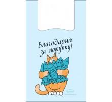 Пакет-майка Кот с рыбой, 30*50см, 100шт, Крымпласт