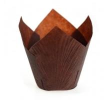 Бумажная форма для маффинов Тюльпан, 50х80мм, коричневая, 200 штук\уп