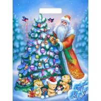 Пакет Дед и мишки, вырубная ручка, 30х40 см