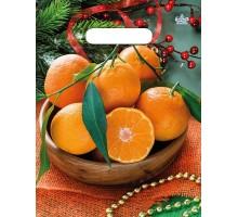 Пакет Много мандаринов, вырубная ручка, 20х30 см