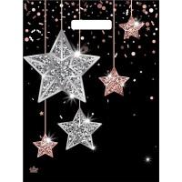 Пакет Звезды в глянце, вырубная ручка, 31х40 см
