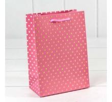 """Пакет подарочный """"Горошек"""" с тиснением 4шт/уп (4 , 4/уп (4 цвета, 14*20*8, OMG-gift"""