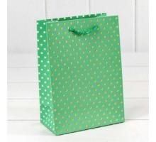 """Пакет подарочный """"Горошек"""" с тиснением (4 цвета), 4шт/уп, 12*15*7, OMG-gift"""