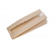 Пакет бумажный, 260х110x40, плоское дно, с окном, для пищевых продуктов
