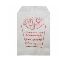 Пакет бумажный, жиростойкий, под картофель-фри, 170х120мм, с рисунком, 100 шт/уп