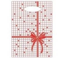 Пакет Бантик красный, вырубная ручка, 22х32см, 100 шт/уп
