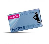 Перчатки нитриловые mediOk, одноразовые, черные, размер M, 100 шт/50 пар