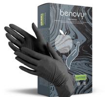 Перчатки нитриловые Benovy размер XS, неопудренные, текстурированные, нестерильные, 100шт/50пар, черные