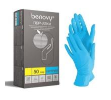 Перчатки нитриловые Benovy размер XL, голубые, неопудренные, текстурированные, нестерильные, 100шт/50пар