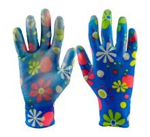 Перчатки садовые, нейлоновые, облитая ладонь, цветочные