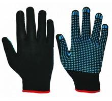 Перчатки нейлоновые с ПВХ-точкой, черные