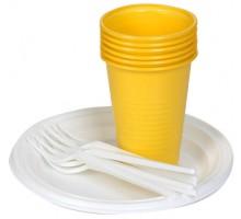 Набор одноразовой пластиковой посуды Застолье, 3 предмета, 6 персон