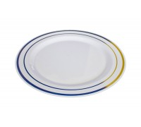 Тарелка пластиковая одноразовая, 190мм, PLMA Винтаж, с каемочкой