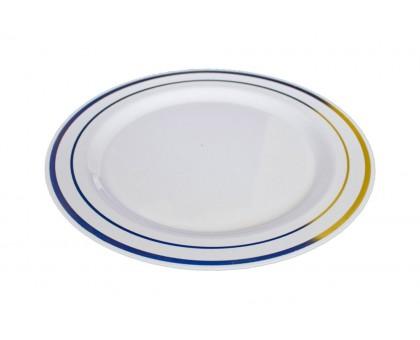 Пластиковая одноразовая тарелка 190 мм PLMA Винтаж с каемочкой