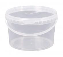 Ведро пищевое пластиковое, прозрачное, 0.5 литра, пластиковая ручка, с крышкой