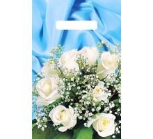 Пакет Букет белых роз, прорубная ручка, 20*30 см, АртПласт