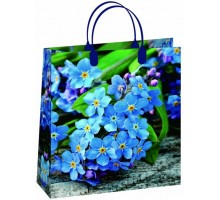 Пакет Голубые цветы S-130/С, мягкий пластик, 230*260+100мм, MagicPack